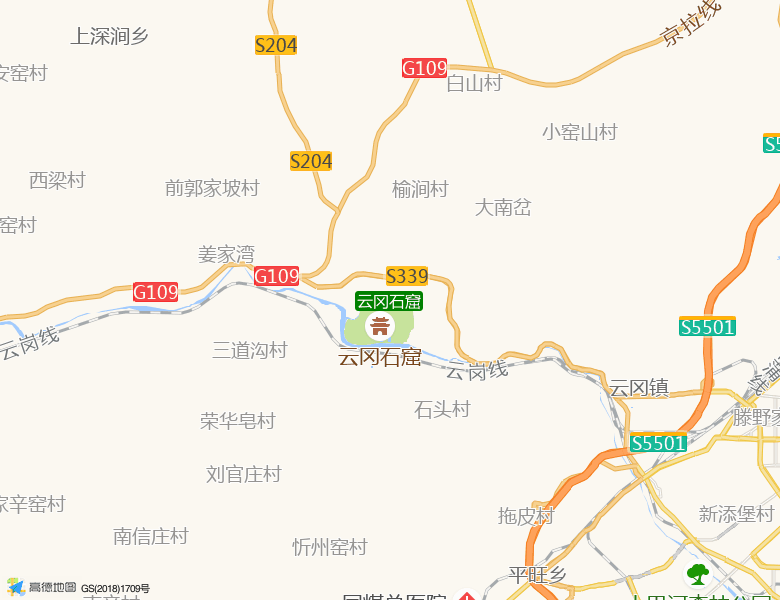 云冈石窟景点高清地图